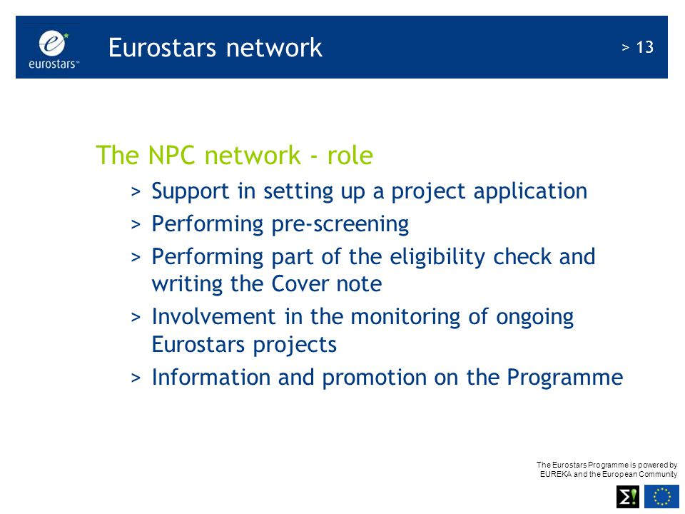 Eurostars network The NPC network - role