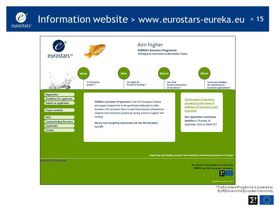 Information website > www.eurostars-eureka.eu