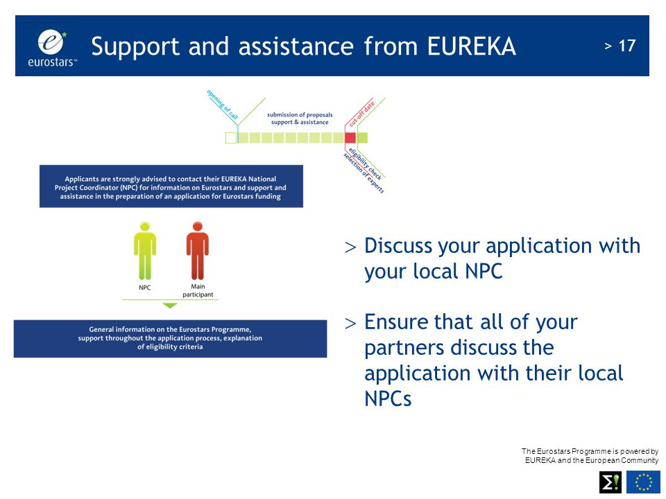 Support and assistance from EUREKA