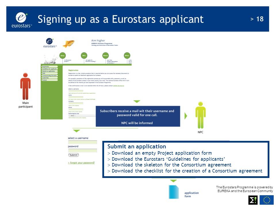 Signing up as a Eurostars applicant