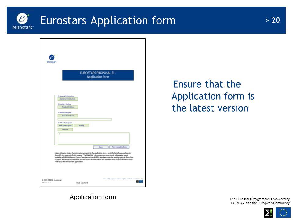 Eurostars Application form