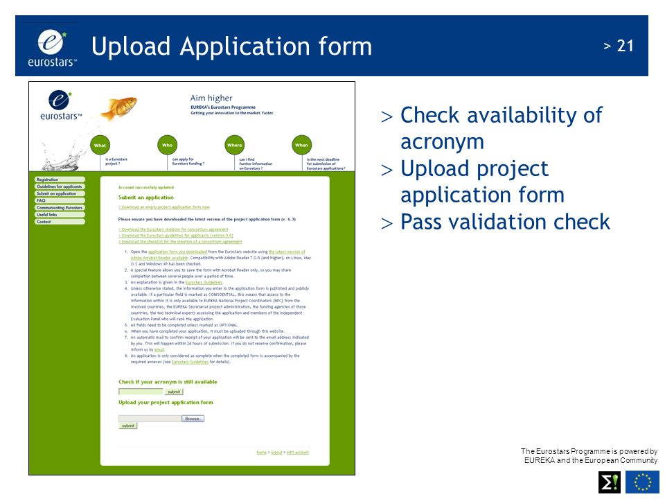 Upload Application form