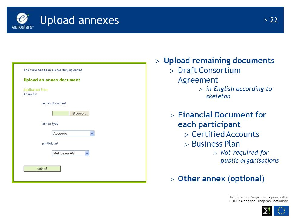 Upload annexes Upload remaining documents Draft Consortium Agreement