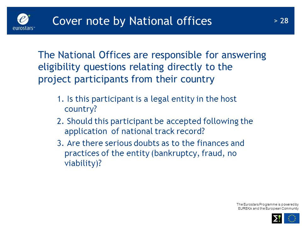 Cover note by National offices