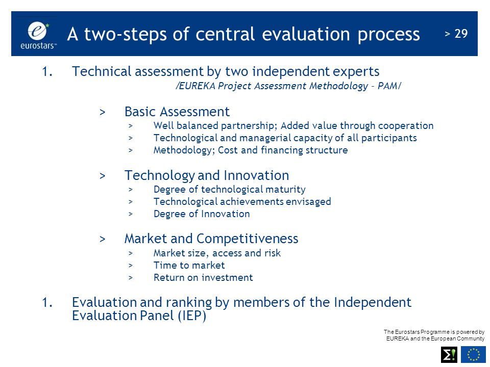 A two-steps of central evaluation process