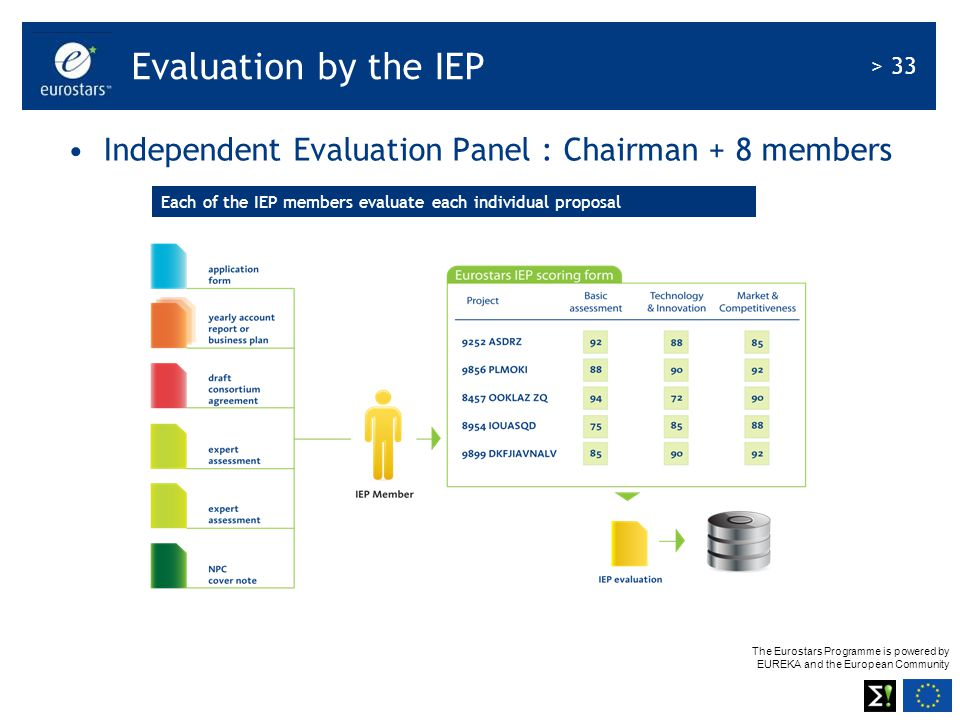 Evaluation by the IEP Independent Evaluation Panel : Chairman + 8 members.