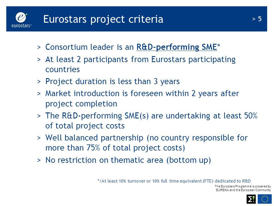 Eurostars project criteria