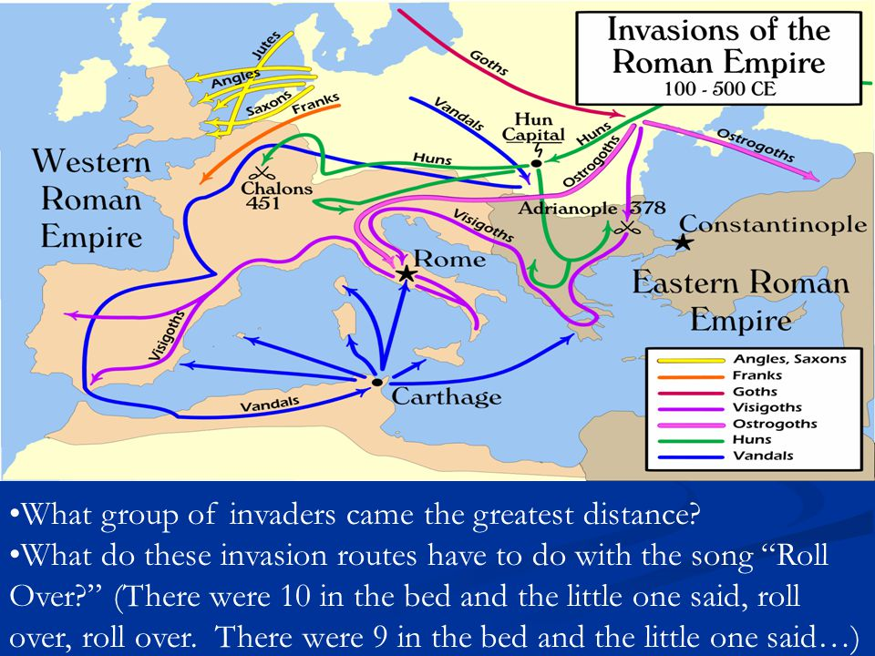 What group of invaders came the greatest distance