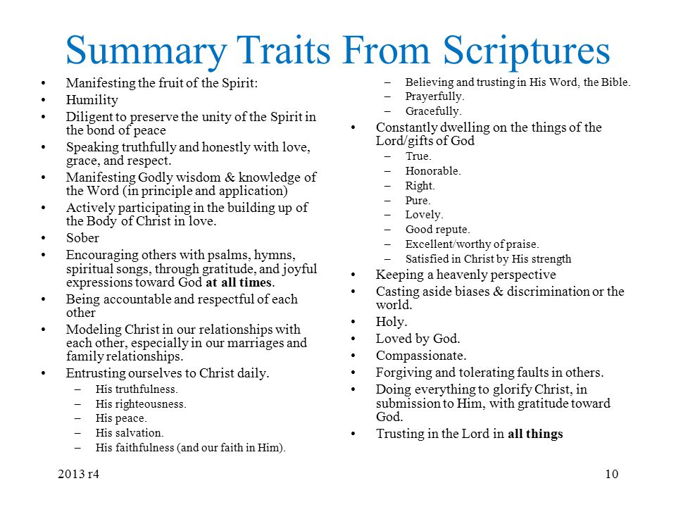 Summary Traits From Scriptures