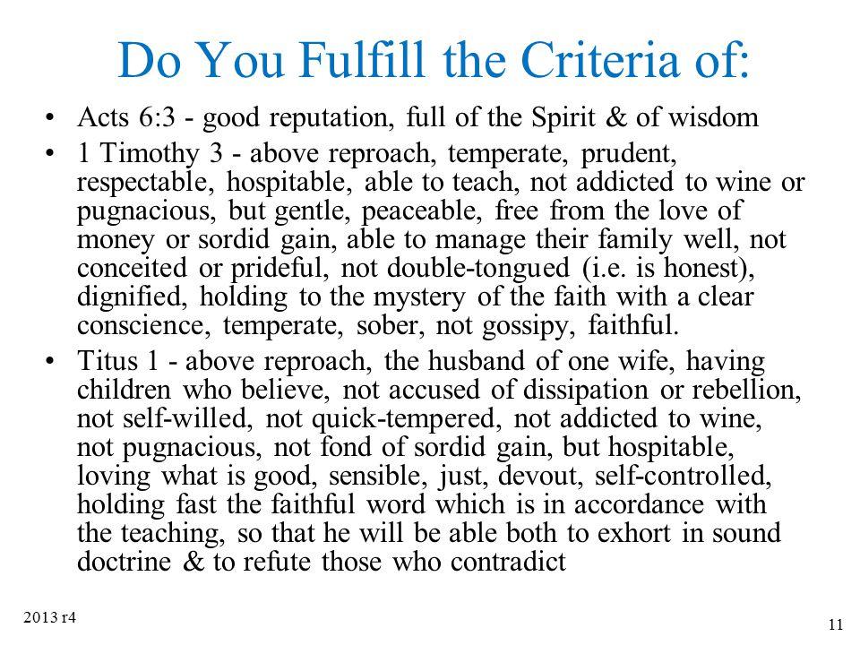Do You Fulfill the Criteria of: