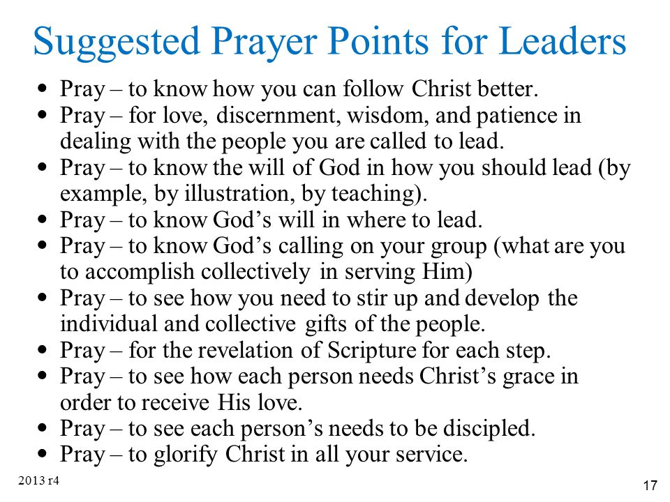 Suggested Prayer Points for Leaders