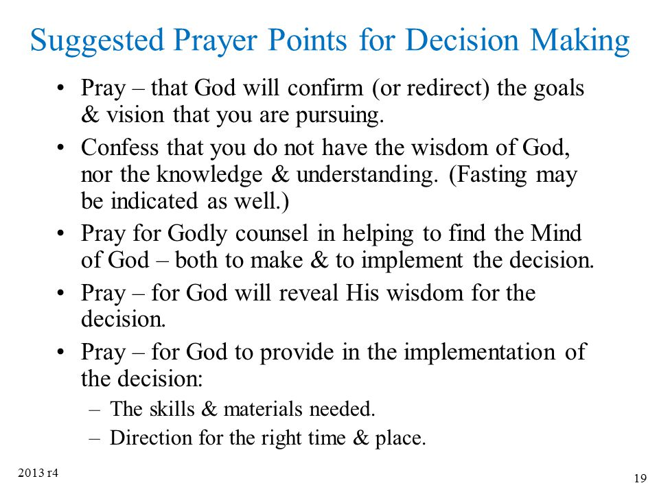 Suggested Prayer Points for Decision Making