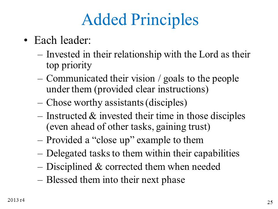 Added Principles Each leader: