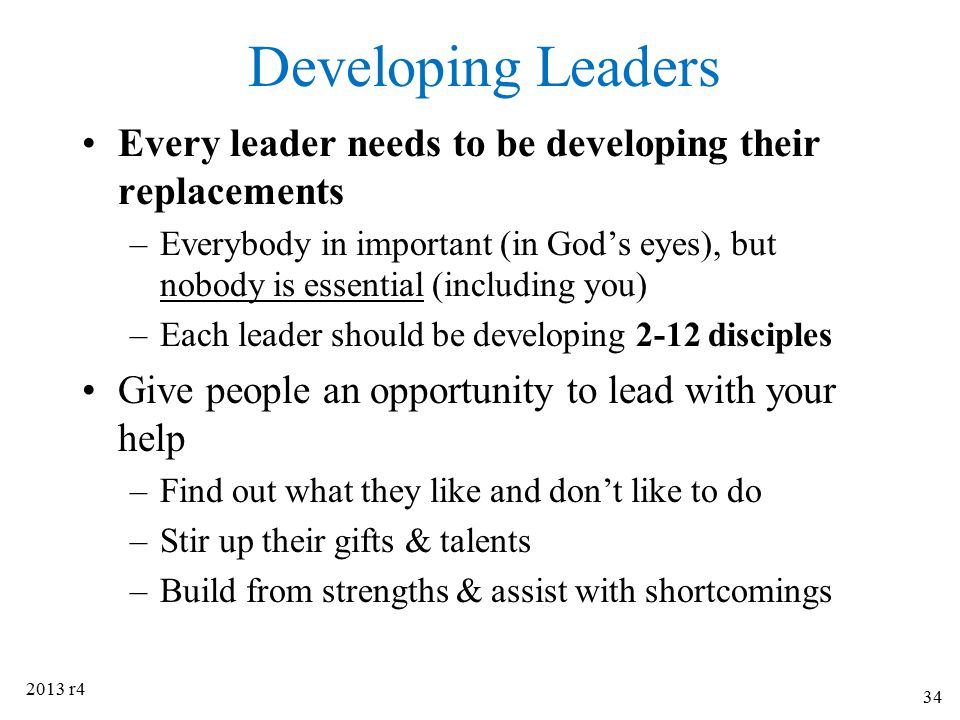 Developing Leaders Every leader needs to be developing their replacements.