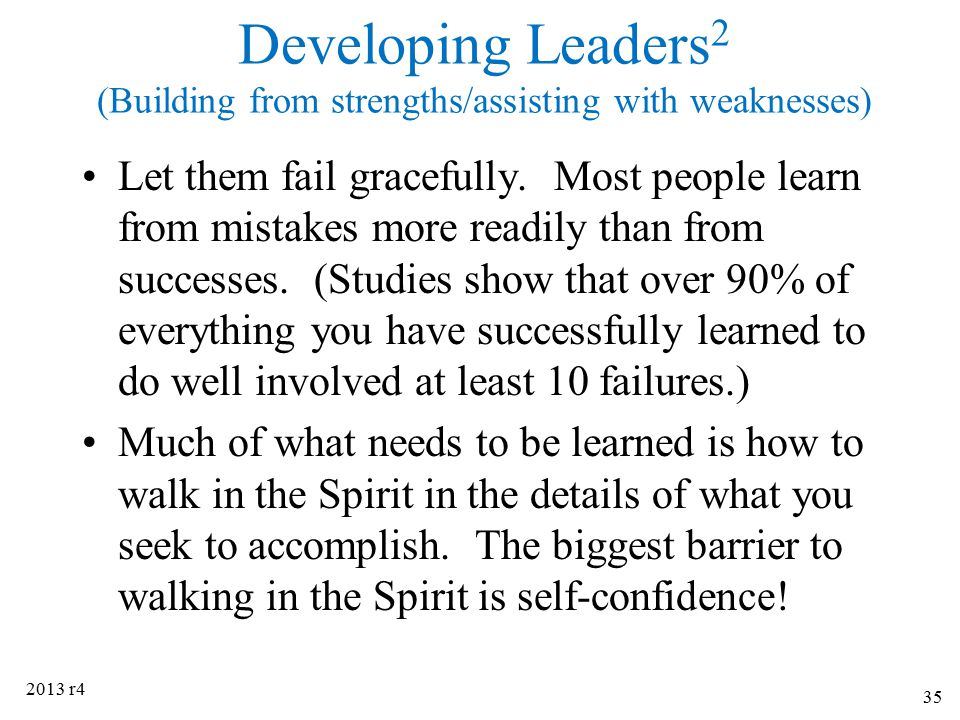 Developing Leaders2 (Building from strengths/assisting with weaknesses)