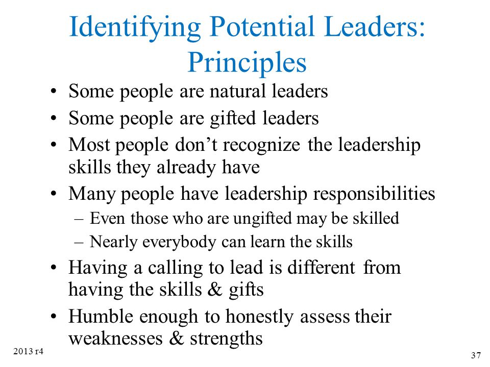 Identifying Potential Leaders: Principles