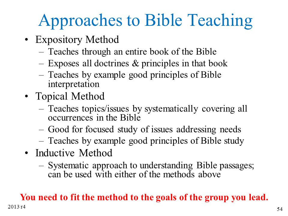 Approaches to Bible Teaching