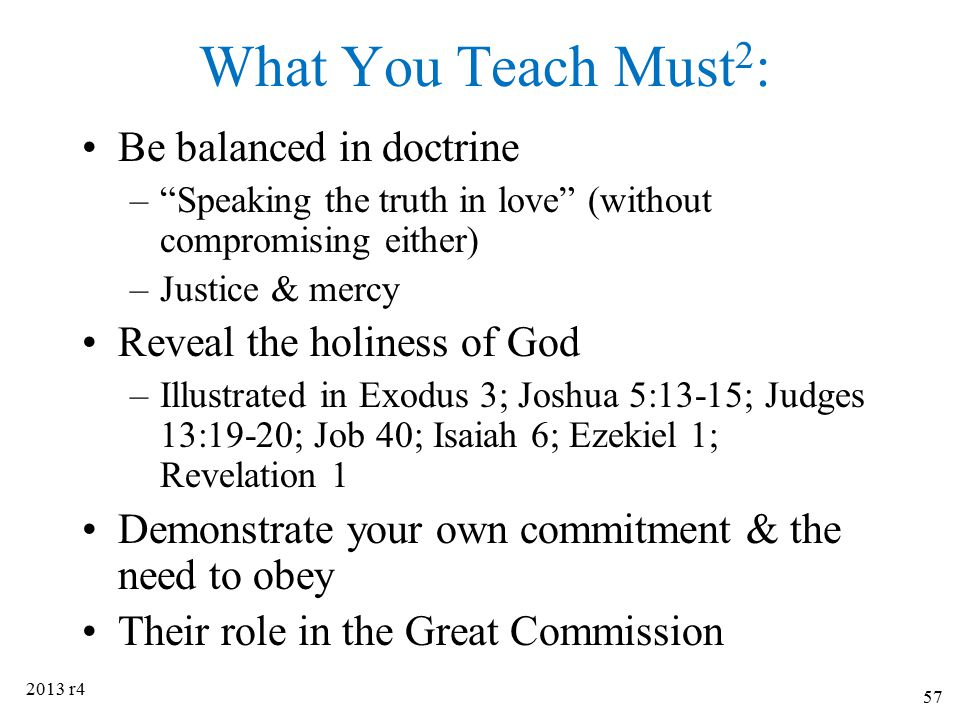 What You Teach Must2: Be balanced in doctrine
