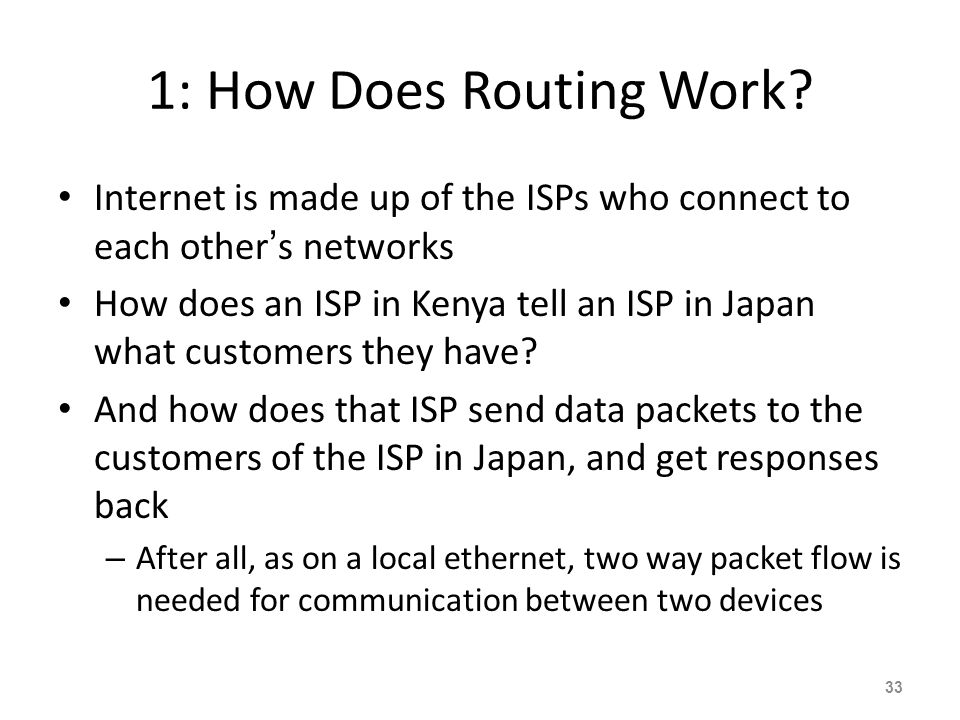 1: How Does Routing Work Internet is made up of the ISPs who connect to each other's networks.