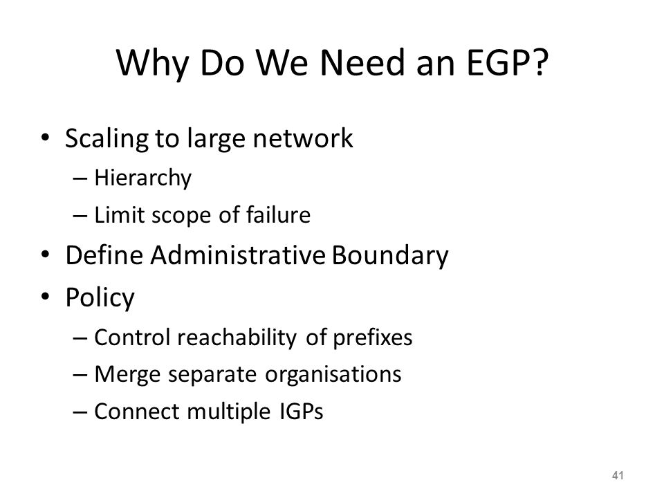 Why Do We Need an EGP Scaling to large network