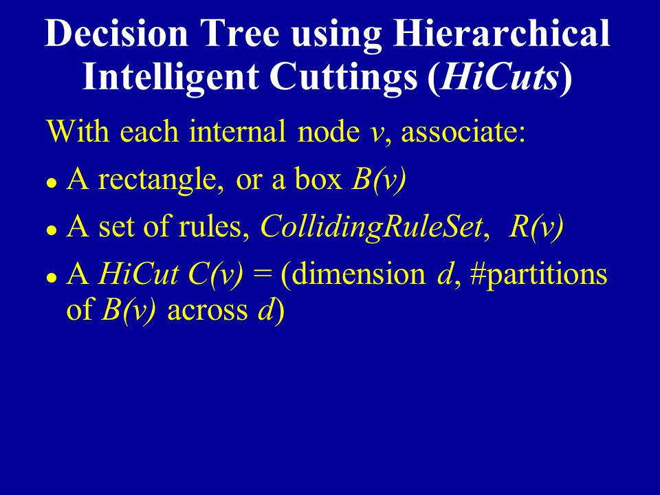 Decision Tree using Hierarchical Intelligent Cuttings (HiCuts)