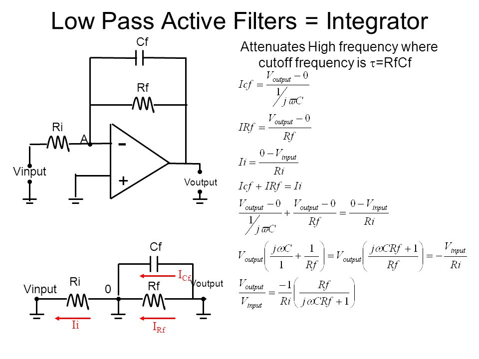 Low Pass Active Filters = Integrator