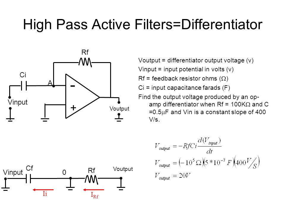High Pass Active Filters=Differentiator