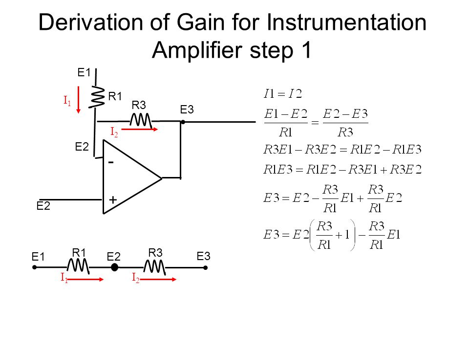 Derivation of Gain for Instrumentation Amplifier step 1