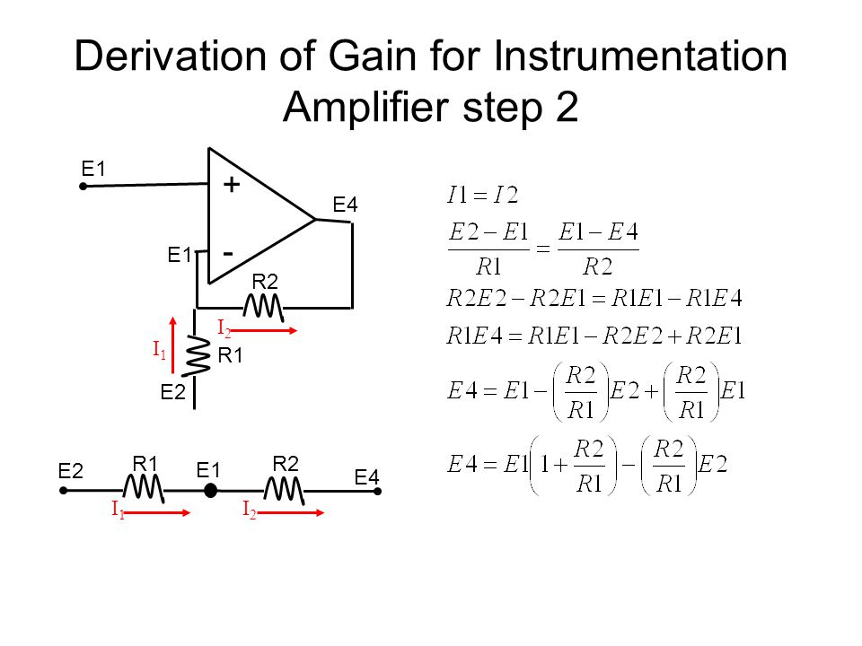 Derivation of Gain for Instrumentation Amplifier step 2