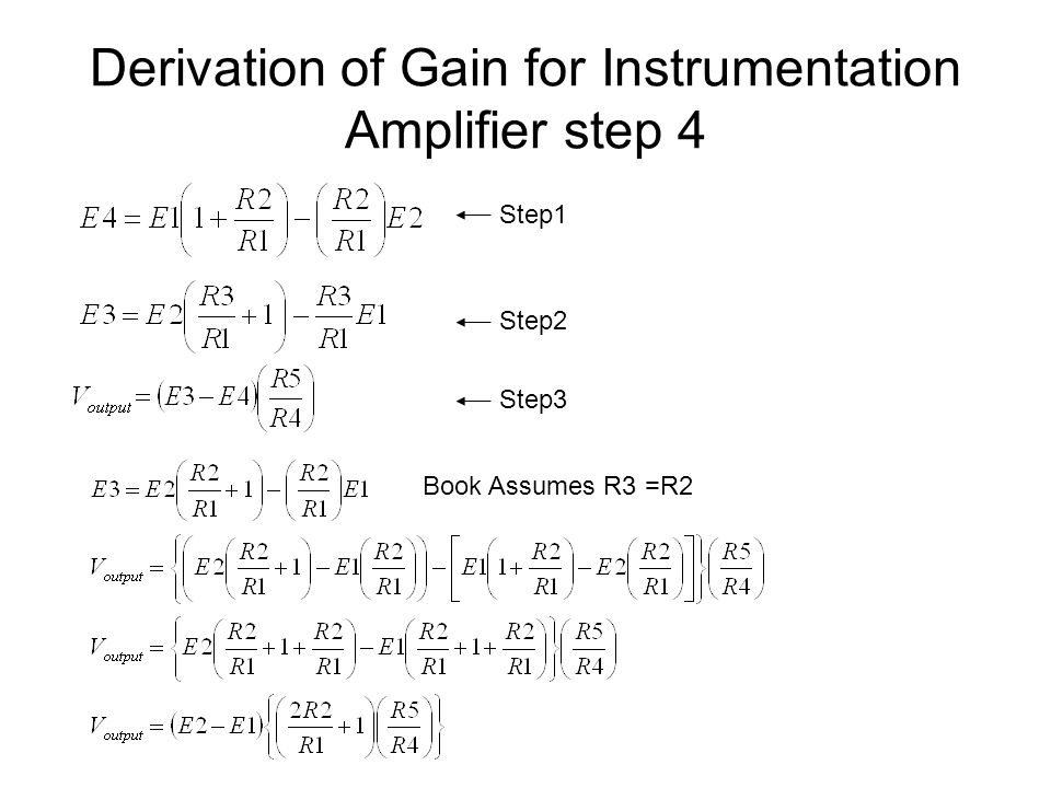 Derivation of Gain for Instrumentation Amplifier step 4