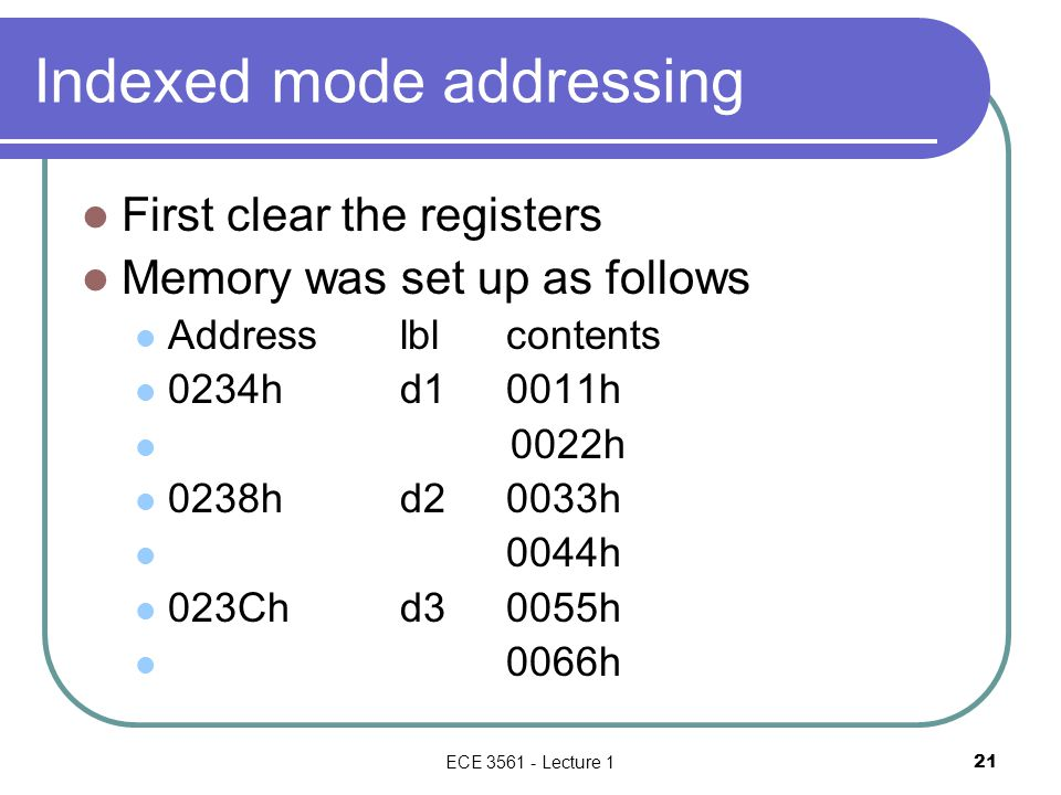 Indexed mode addressing