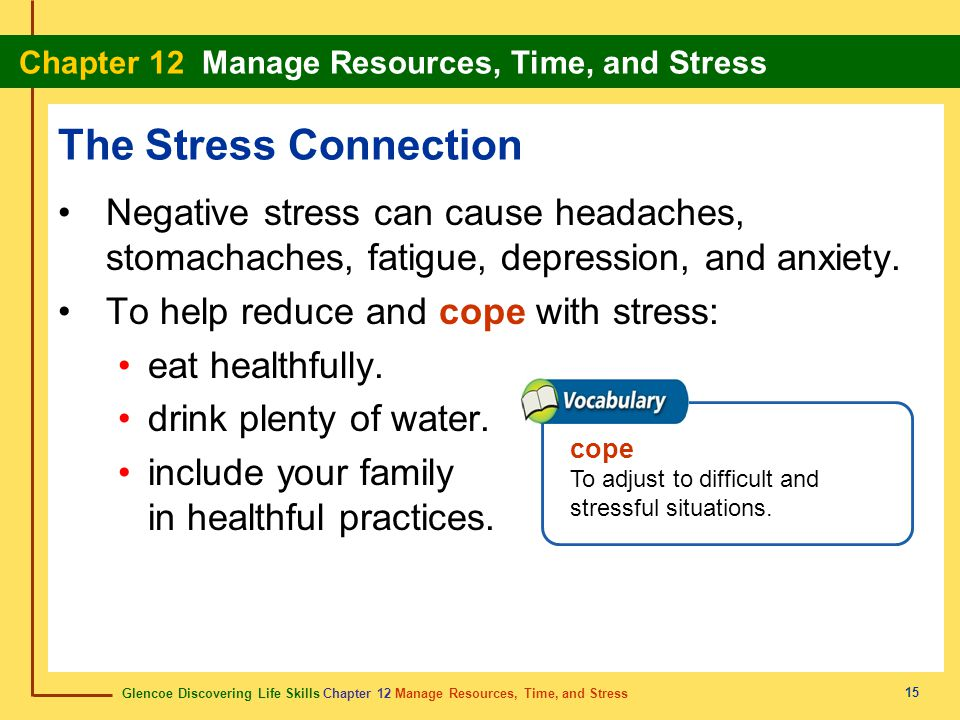 The Stress Connection Negative stress can cause headaches, stomachaches, fatigue, depression, and anxiety.
