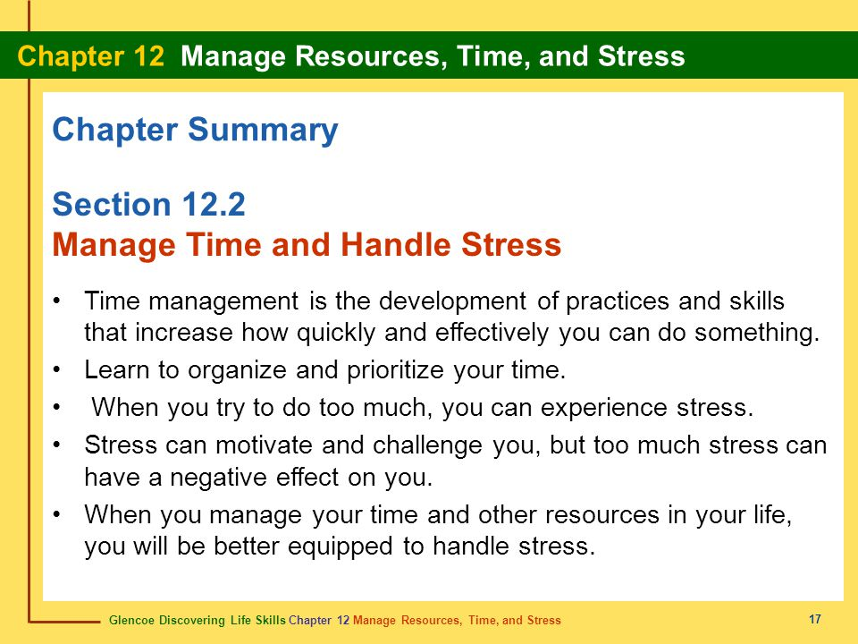 Manage Time and Handle Stress
