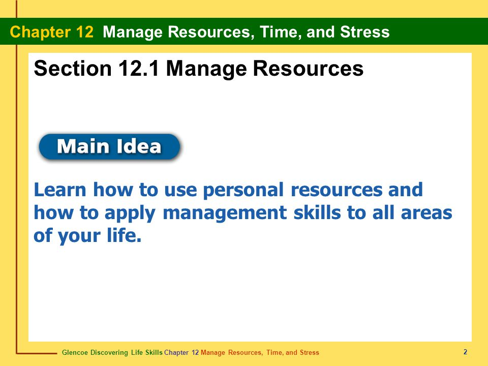 Section 12.1 Manage Resources