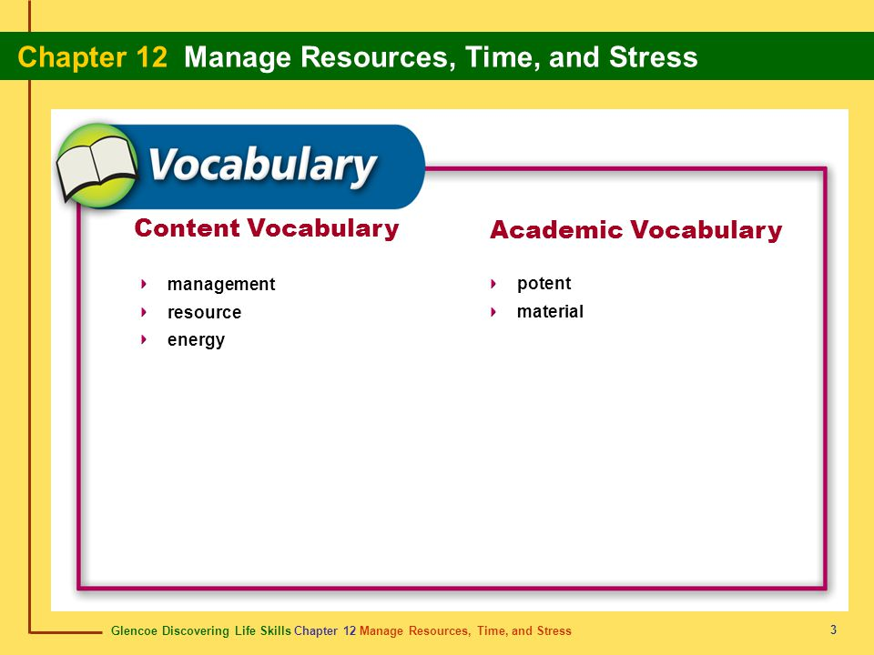 Content Vocabulary Academic Vocabulary management resource energy