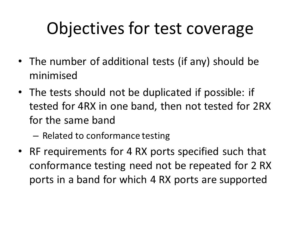 Objectives for test coverage