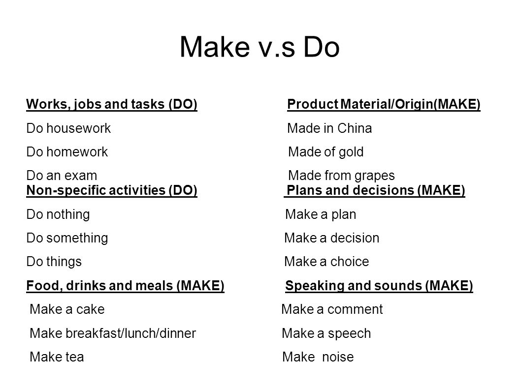 Make v.s Do Works, jobs and tasks (DO) Product Material/Origin(MAKE)