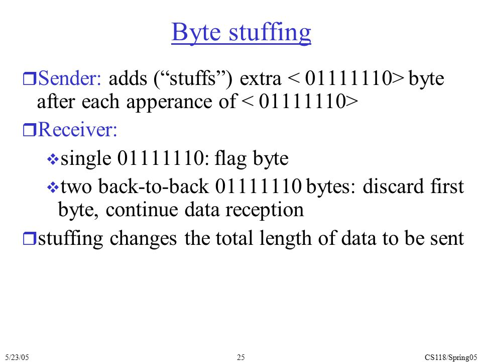 Byte stuffing Sender: adds ( stuffs ) extra < 01111110> byte after each apperance of < 01111110> Receiver: