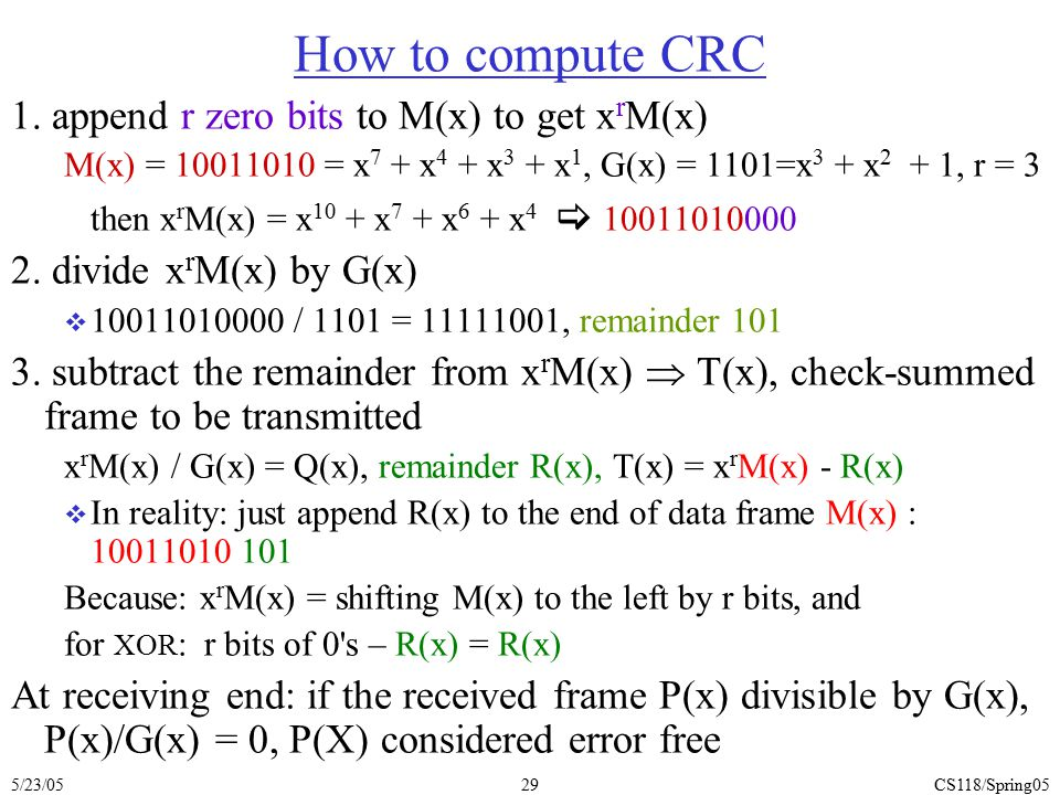 How to compute CRC 1. append r zero bits to M(x) to get xrM(x)