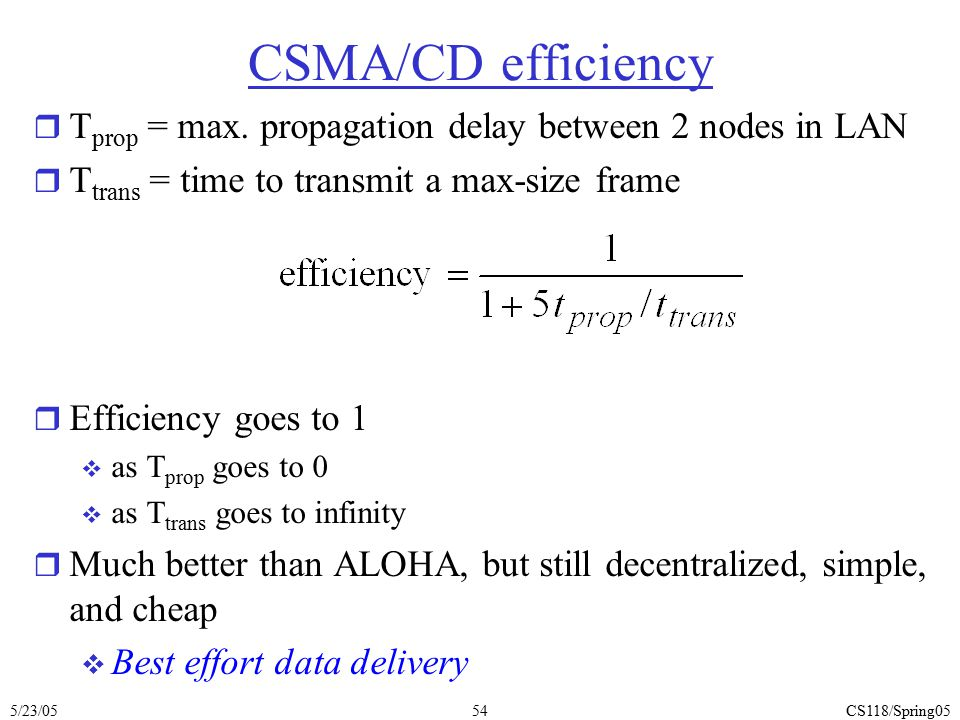 CSMA/CD efficiency Tprop = max. propagation delay between 2 nodes in LAN. Ttrans = time to transmit a max-size frame.