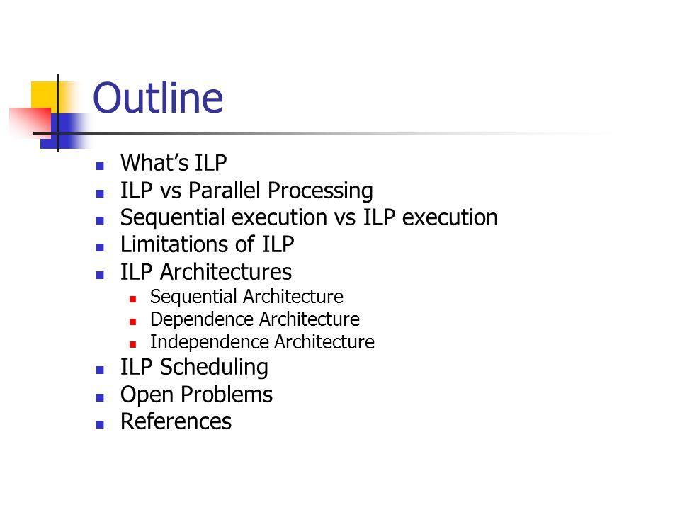 Outline What's ILP ILP vs Parallel Processing
