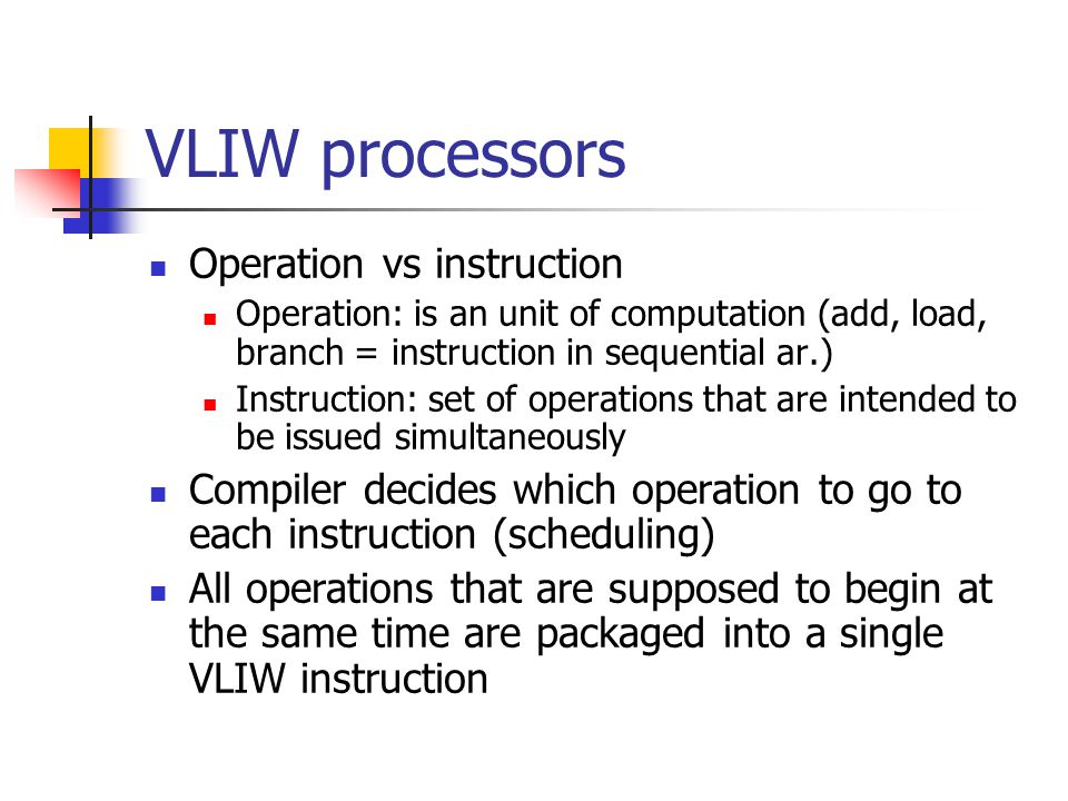 VLIW processors Operation vs instruction