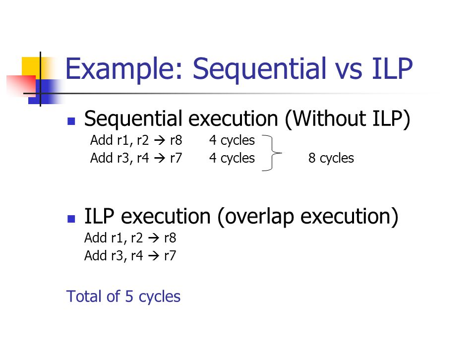 Example: Sequential vs ILP