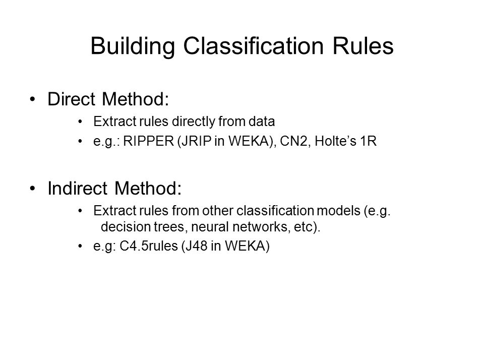 Building Classification Rules