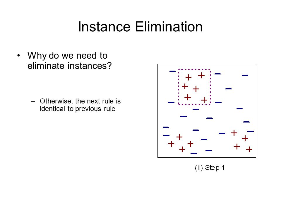 Instance Elimination Why do we need to eliminate instances