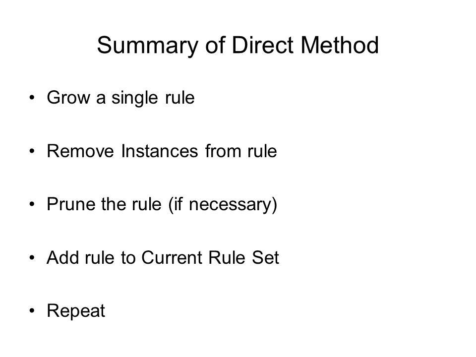 Summary of Direct Method