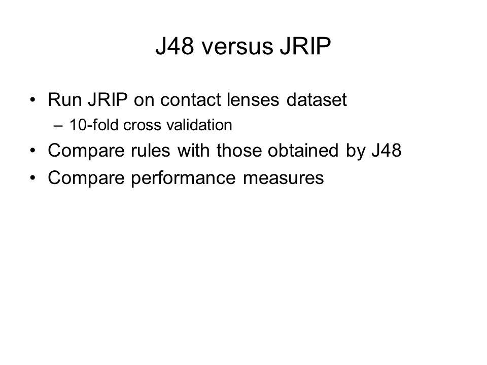 J48 versus JRIP Run JRIP on contact lenses dataset