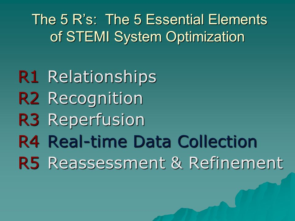 The 5 R's: The 5 Essential Elements of STEMI System Optimization
