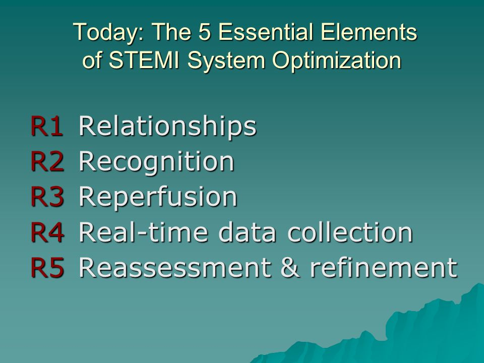 Today: The 5 Essential Elements of STEMI System Optimization