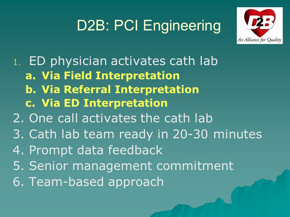 D2B: PCI Engineering ED physician activates cath lab